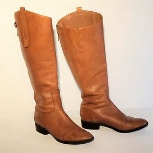 Sam Edelman Tan Leather Boots - zip up Size 9